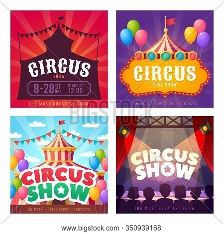 Circus Card Set. Promotion Banners Square Shape On Theme Circus. Design Of Advertising In Social Net