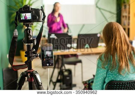 Professional Camera Is Recording Seminar With Optional Accessory. Woman Making Presentation, Lection
