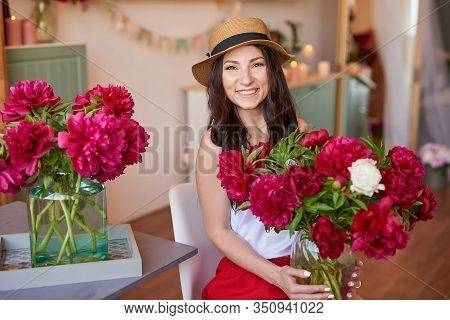 Girl With Peonies Bouquet. Bouquet Of Peonies. Flower Delivery To Workplace. Spring Girl With Flower