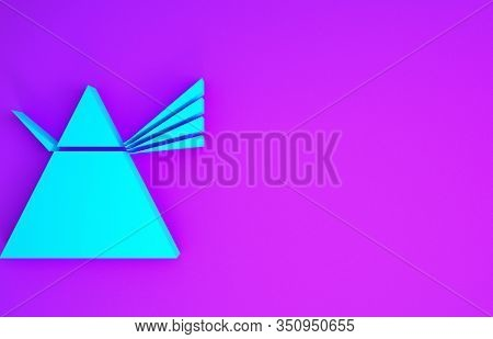 Blue Light Rays In Prism Icon Isolated On Purple Background. Ray Rainbow Spectrum Dispersion Optical