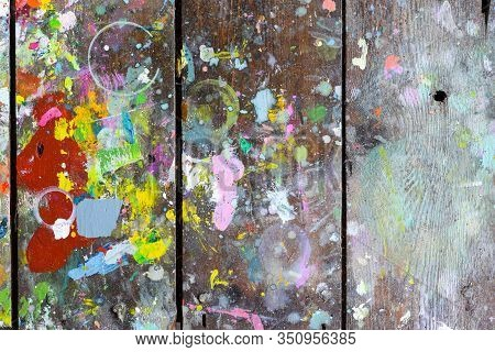 Wooden Boards Covered In Paint Creating Random And Abstract Artistic Patterns And Shapes For Creativ