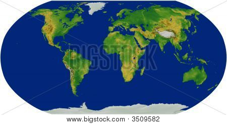 Terrain World Map in the Robinson Projection centered on Africa poster
