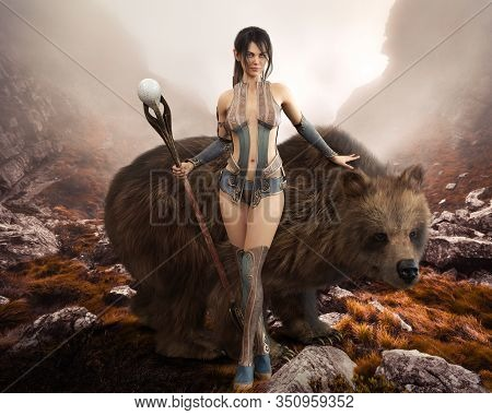 Fantasy Elegant Druid Female Devoted To Nature Posing With Her Magical Staff And  Enormous Pet Bear