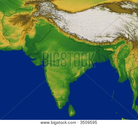 India Map With Terrain
