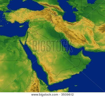 Nahen Osten Regionalkarte mit terrain