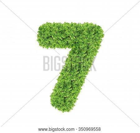 Grass Number Seven Isolated On White Background. Symbol 7 With The Green Lawn Texture. Eco Symbol Co