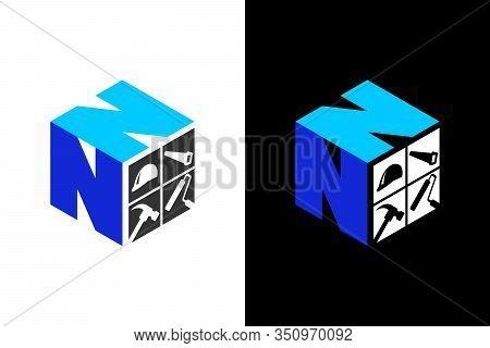 Cubic Font N N With Home Renovation Logo Sign Symbol