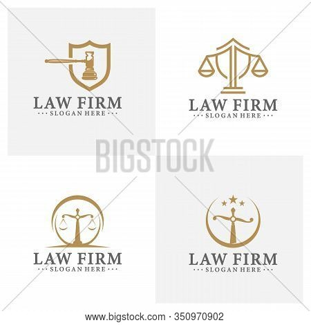 Law Office Logotypes Set With Scales Of Justice, Gavel Etc Illustrations. Vector Vintage Attorney, A