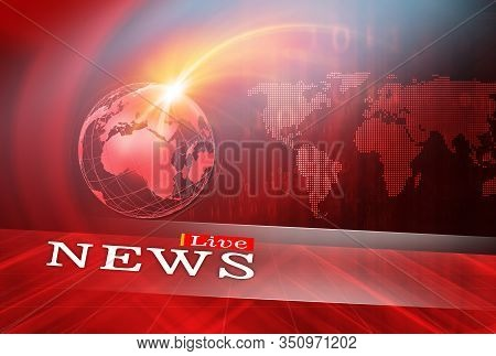 Live News Studio Background, Digital Medias And Worldwide Emergency News Publishing Concept