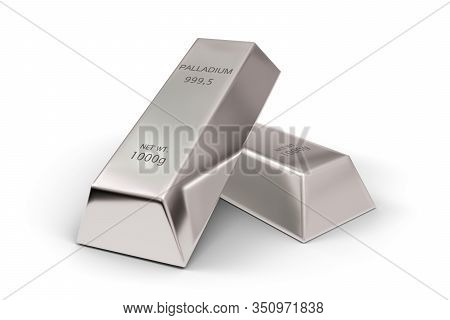 Two Shiny Palladium Ingots Or Bars Over White Background - Precious Metal Or Money Investment Concep