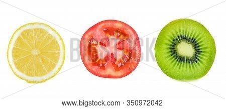 A Kiwifruit Slice And Lemon Slice  And Tomato Slice  Isolated On White
