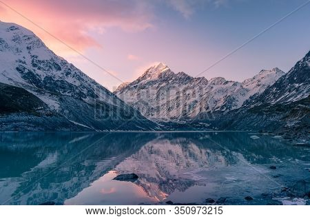 Beautiful Winter Mountain Landscape With Snow And Glacier Lake At Sunset. Snow Covered Mountain Rang