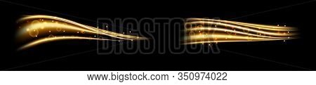 Golden Magic Wave. Gold Trail Isolated On Transparent Background. Luminescent Waved Trail With Brigh