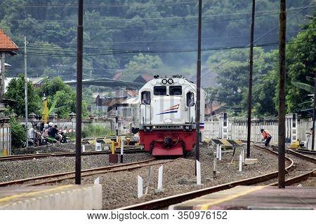 Kaliwungu, Indonesia - 16 February 2020: The Train Drove On The Rails
