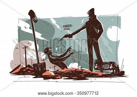 Gangsters Killing Man Vector Illustration. Killer Shooting
