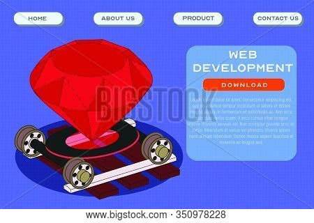 Web Development Site Template. Application And Software Development Header Poster Design. Vector Ill