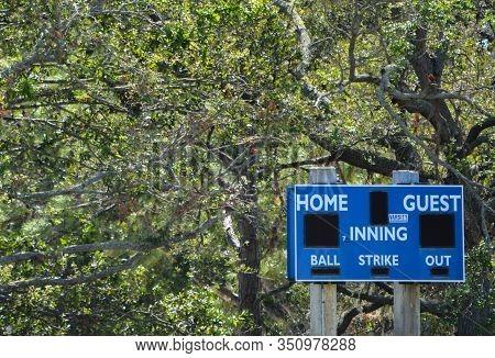 Baseball Outfield Score Board, In Largo, Florida
