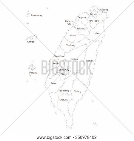 Taiwan Political Map With Name Labels. Perfect For Business Concepts, Backgrounds, Backdrop, Poster,