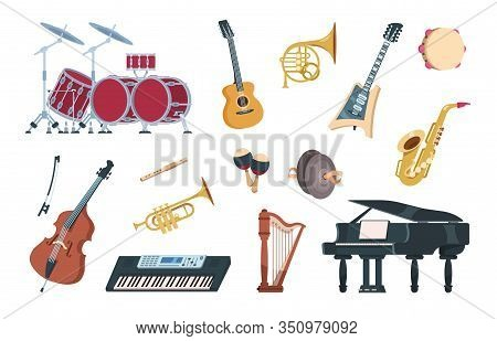 Musical Instruments. Acoustic, Electric And Percussion Cartoon Vintage Equipment For Music Concerts