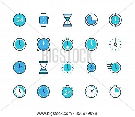 Clock And Time Icons. Watch, Calendar, Alarm And Chronograph Infographic Icons For Time Management A