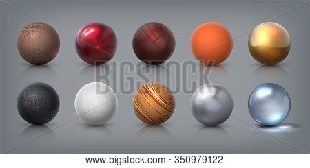 Texture Spheres. 3d Realistic Balls Of Glass Metal Plastic Rubber Materials, Decoration Elements And