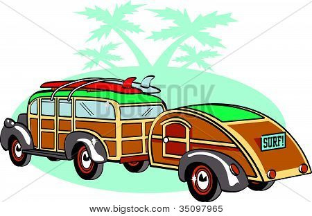Vintage Station Wagon Clipart