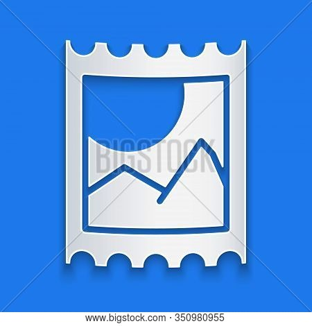 Paper Cut Lsd Acid Mark Icon Isolated On Blue Background. Acid Narcotic. Postmark. Postage Stamp. He