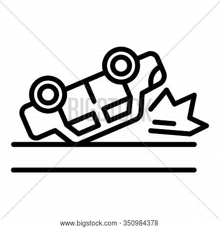 Auto Car Accident Icon. Outline Auto Car Accident Vector Icon For Web Design Isolated On White Backg
