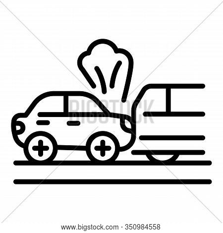Smoking Car Accident Icon. Outline Smoking Car Accident Vector Icon For Web Design Isolated On White