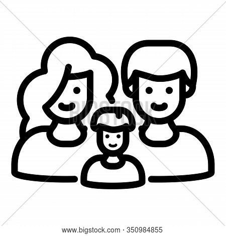 Happy Foster Family Icon. Outline Happy Foster Family Vector Icon For Web Design Isolated On White B