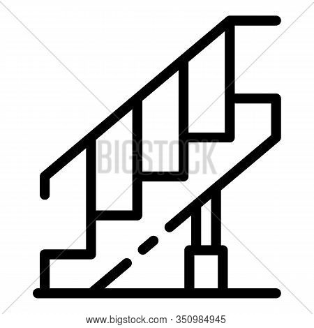 Reconstruction Stairs Icon. Outline Reconstruction Stairs Vector Icon For Web Design Isolated On Whi