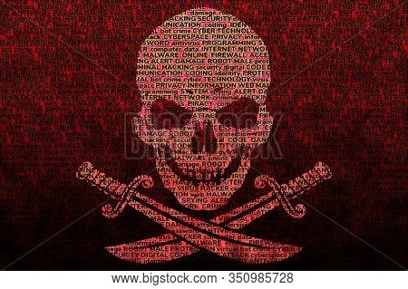 Contrasting Jolly Roger On A Dark Blood-red Background, Consisting Of Terms On The Topic Of Computer