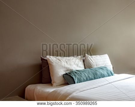 Empty Double Bed In Luxury And Natural Style Bedroom Is Decorated With Loft Style.