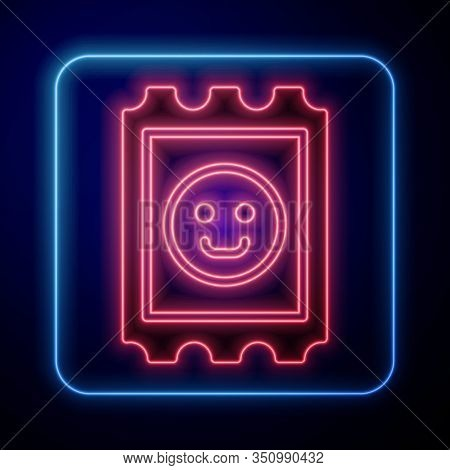 Glowing Neon Lsd Acid Mark Icon Isolated On Blue Background. Acid Narcotic. Postmark. Postage Stamp.
