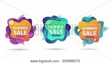 Set Summer Sale Banners. Set Bright Summer Cards With Tropical Summer Leaves, Pineapple And Slippers