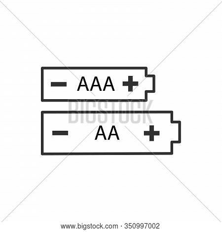 Aa And Aaa Alkaline Batteriy Icon Set. Stock Vector Illustration Isolated On White Background.