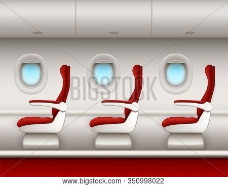 Airplane Interior Vector Background With Passenger Seats Row, Open Porthole Windows And Luggage Comp