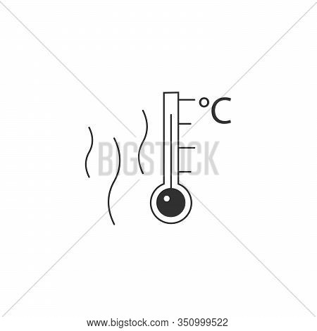 Hot Surface, Temperature Thermometr With Celsius Scale Icon. Stock Vector Illustration Isolated On W