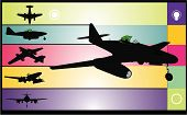 old airplane vector composition illustration over colors background poster