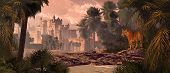 A landscape in India with gothic castle, date palms and Bengal tiger. poster