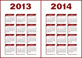Calendar for 2013,2014.Red  letters and figures on a white background. poster