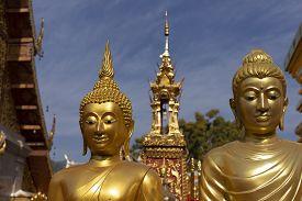 Golden Buddha Statue At Wat Phra That Doi Suthep In Chiang Mai, Thailand.