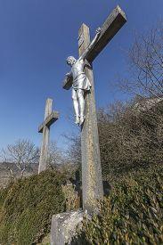 Calvary And Jesus Crucified On The Cross In Beram, Istria, Croatia