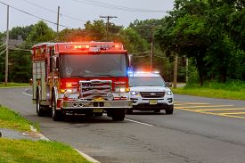 10 February 2020 East Brunswick Nj Usa: Fire Trucks In Fire Department On Emergency 911 And Police C