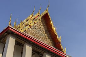 Traditional Thai Style Pattern On The Roof Of A Temple.