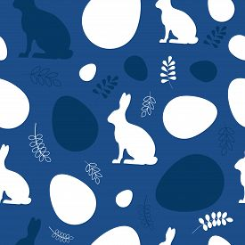 Easter Pattern Classic Blue. Happy Easter Vector Seamless Pattern. Eggs Classic Blue. Easter Backgro