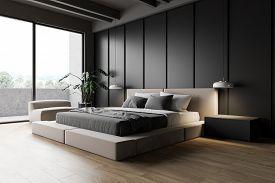 Modern Gray Master Bedroom Corner