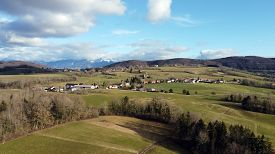 Aerial View Of Choisy Countryside, Near Annecy, France