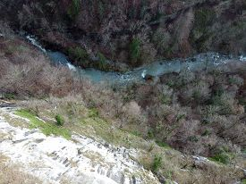 Aerial View Of Usses River And Cliffs Gorges, Caille Bridge, Near Cruseilles, France