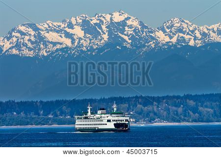 Seattle Bainbridge Island Ferry Puget Sound Olympic Snow Mountains Washington State